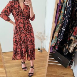 Robe Aline Rouge fleurie - Ba&Sh